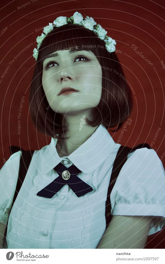 Junge japanische Frau mit eleganter Kleidung Stil exotisch schön Haut Gesicht Mensch feminin Junge Frau Jugendliche 1 18-30 Jahre Erwachsene Mode Hemd Fliege