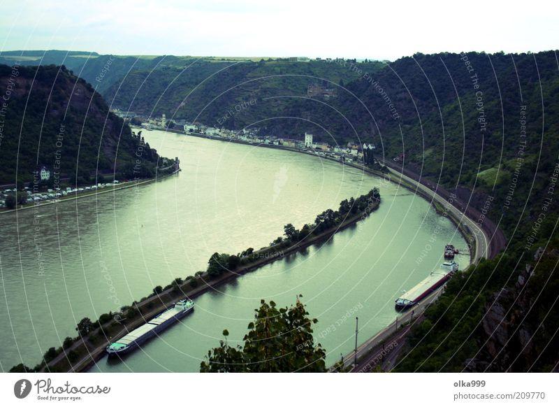 Lore Ley Himmel Natur Wasser grün blau Sommer Ferien & Urlaub & Reisen Wolken schwarz Bewegung Umwelt Wasserfahrzeug Ausflug Insel Schwimmen & Baden Fluss