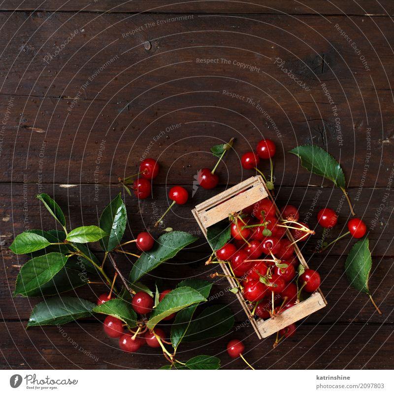 Frische Sauerkirschen in einem Kasten auf einem Holztisch Sommer grün rot Blatt dunkel braun wild Frucht frisch Tisch lecker Beeren Schalen & Schüsseln