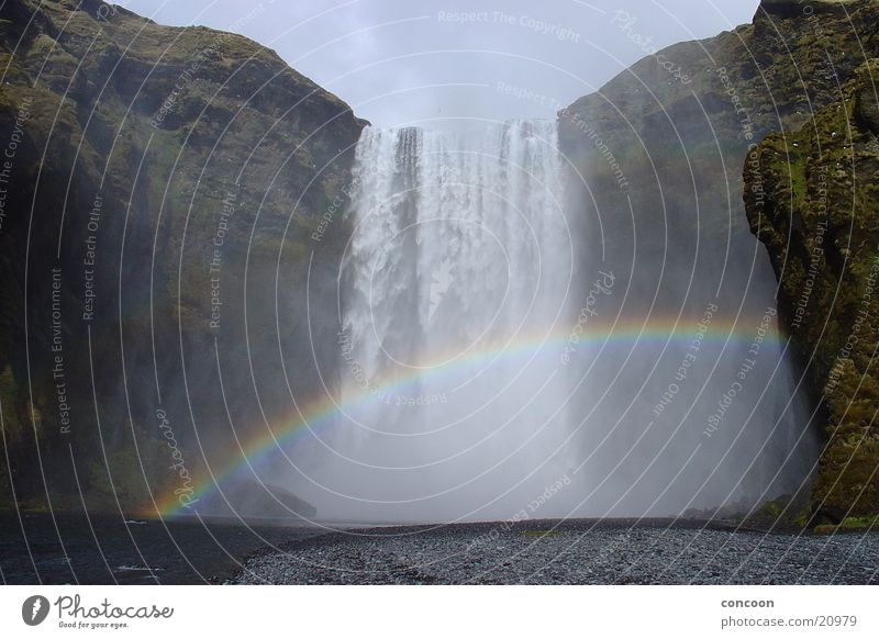 Somewhere over the rainbow in Iceland Island Wasserfall Regenbogen