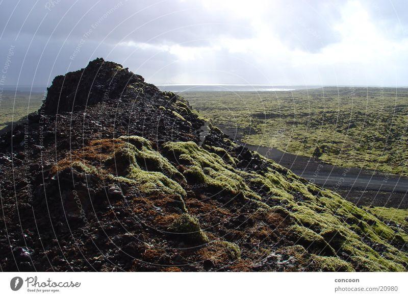 Moos & Lava Island schön Sonne Ferne Landschaft leer Island Lavafeld