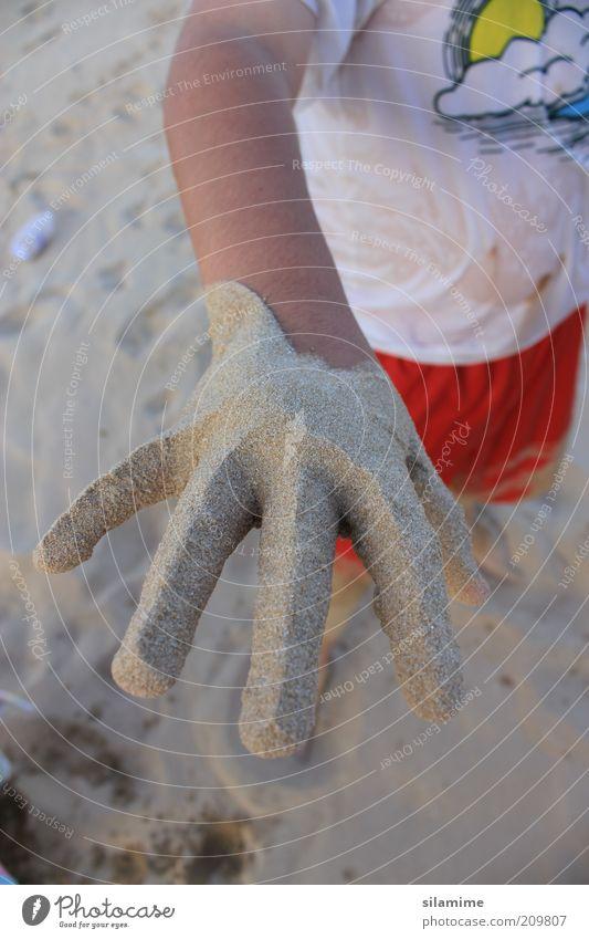 Sandhand Kind Hand 1 Mensch 3-8 Jahre Kindheit Ferien & Urlaub & Reisen Spielen dreckig lustig natürlich Freude Fröhlichkeit Leben Erholung Erfahrung Idee