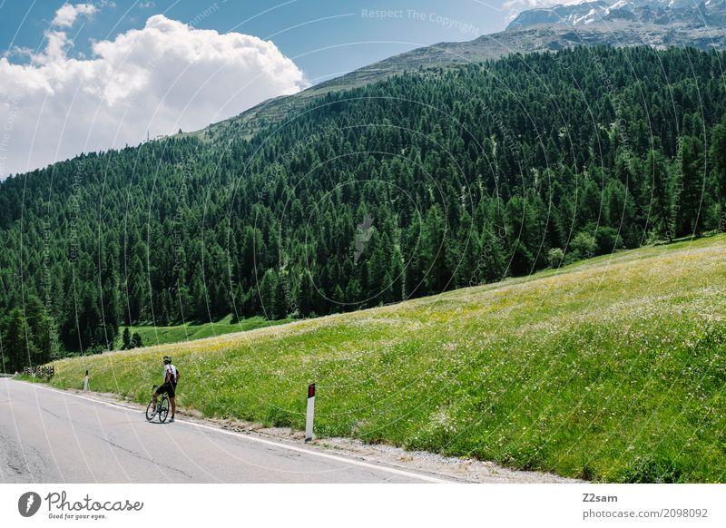 warten auf den Mannschaftswagen Freizeit & Hobby Ferien & Urlaub & Reisen Fahrradfahren Erwachsene 45-60 Jahre Natur Landschaft Sommer Schönes Wetter Alpen