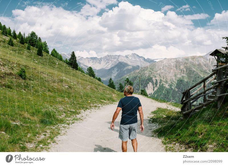 beeindruckt Himmel Natur Ferien & Urlaub & Reisen Mann Sommer grün Landschaft Erholung Einsamkeit Wolken Berge u. Gebirge Erwachsene Wiese Gesundheit Freiheit