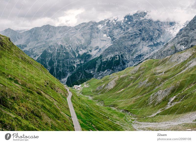 Stilfser Fahrradfahren Natur Landschaft Sommer schlechtes Wetter Alpen Berge u. Gebirge Gipfel Gletscher Straße Hochstraße bedrohlich gigantisch hoch natürlich