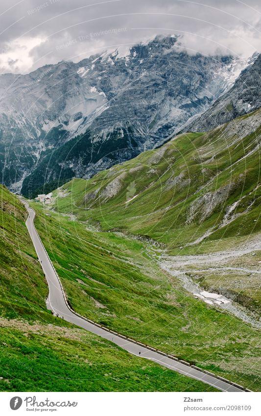 Es ist ein langer Weg / Stilfserjoch Fahrradfahren Umwelt Natur Landschaft Himmel Wolken Gewitterwolken schlechtes Wetter Alpen Berge u. Gebirge Gipfel