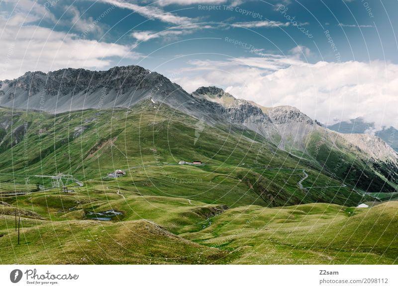 Umbrail Fahrradfahren Umwelt Natur Landschaft Himmel Wolken Sommer Klima Schönes Wetter Alpen Berge u. Gebirge Gipfel Gletscher gigantisch natürlich blau grün