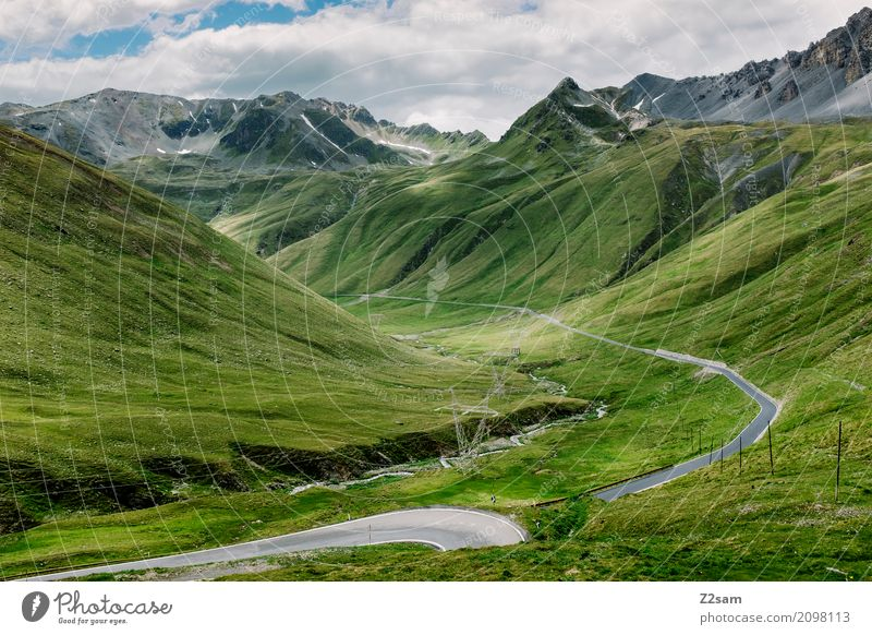 Ab nach Bormio Umwelt Natur Landschaft Himmel Wolken Sommer Schönes Wetter Wiese Alpen Berge u. Gebirge Gipfel Gletscher Straße Wege & Pfade Hochstraße