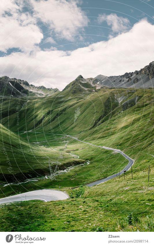 Ab nach Bormio Fahrradfahren Natur Landschaft Himmel Wolken Sommer Schönes Wetter Wiese Alpen Berge u. Gebirge Gletscher Straße Wege & Pfade Hochstraße