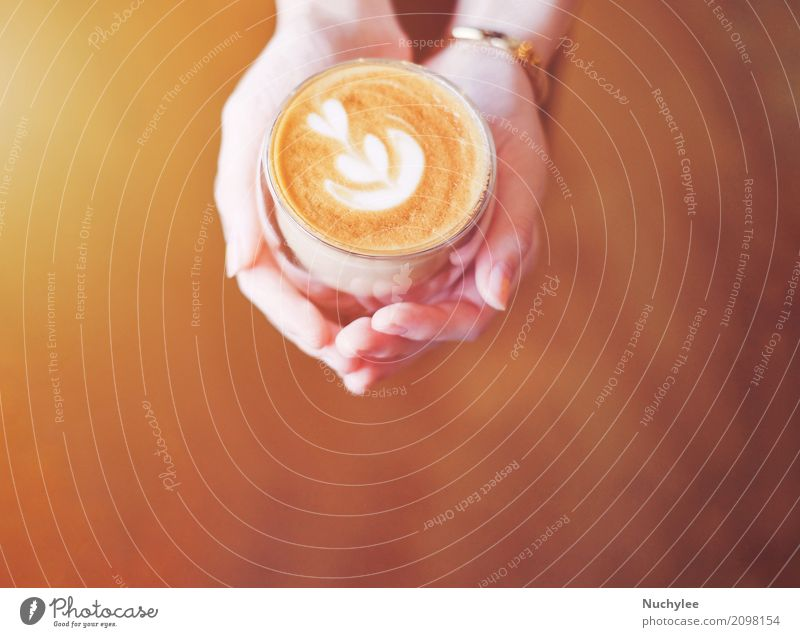 Hände der Frau Tasse Latte halten Frühstück Mittagessen Getränk Kaffee Espresso Teller Design Freizeit & Hobby Restaurant Erwachsene Hand Kunst frisch heiß