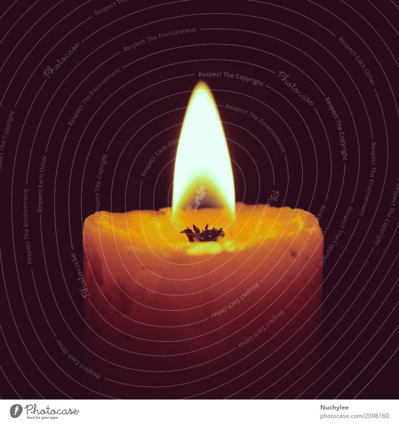 Brennende Kerze auf Schwarzem Meditation Feste & Feiern Weihnachten & Advent Kirche Liebe Traurigkeit dunkel retro gelb schwarz Romantik Hoffnung Tod Frieden