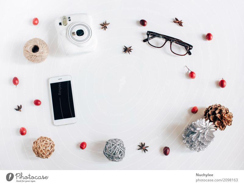 Kreative flache Lage des Erntedank- oder Herbstkonzeptes weiß Wärme Lifestyle Stil Mode Feste & Feiern Design Textfreiraum hell Freizeit & Hobby modern