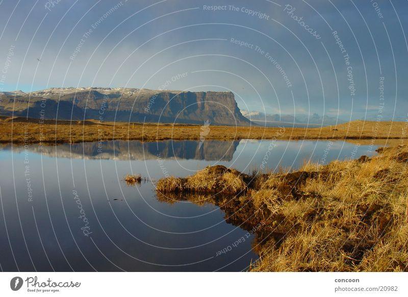 Beautiful Iceland See Gras Abendsonne ruhig Felswand Steilwand Island Europa Reflexion & Spiegelung Norden