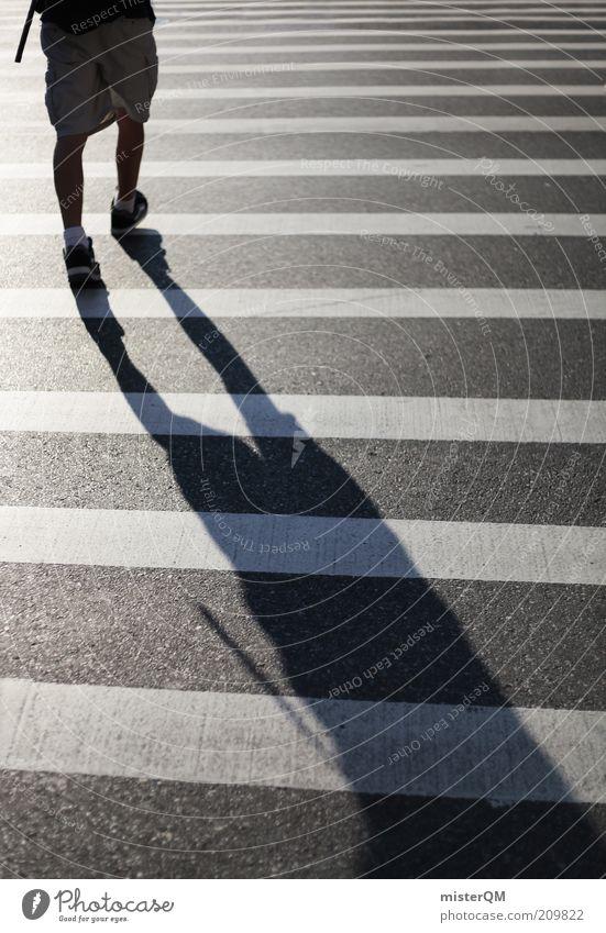 Step Away. Mensch weiß schwarz Bewegung Beine maskulin ästhetisch Asphalt Streifen vorwärts Fußgänger gestreift Übergang Überqueren