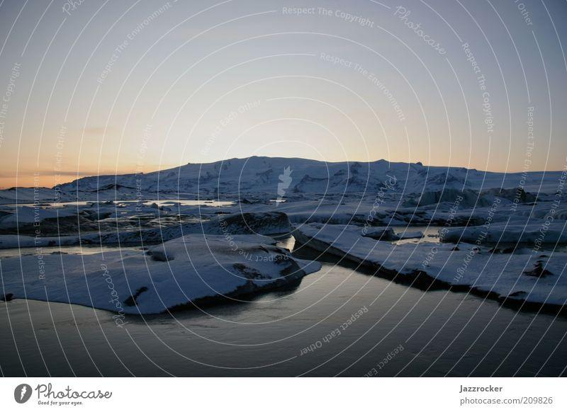 Jökulsarlon sundown Natur Landschaft Sonnenaufgang Sonnenuntergang Winter Klima Wetter Schönes Wetter Schnee Gletscher Island Farbfoto Außenaufnahme Abend