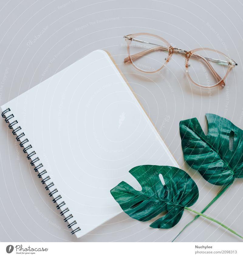 Flache Lage des minimalen Arbeitsplatzes Lifestyle Stil Design Business Kunst Natur Pflanze Frühling Blatt Mode Brille Papier einfach hell modern oben grau grün