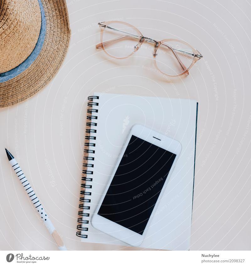 Flache Lage des Arbeitsbereichs Lifestyle Stil Design schön Freizeit & Hobby Ferien & Urlaub & Reisen Sommer Dekoration & Verzierung Schreibtisch Telefon PDA