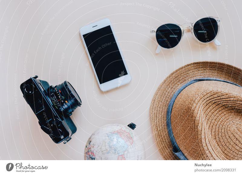 Flache Lage von Reiseartikeln und Zubehör Lifestyle Stil Design schön Freizeit & Hobby Ferien & Urlaub & Reisen Tourismus Ausflug Sommer Dekoration & Verzierung