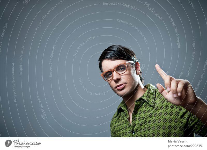 Herr Schlaumeier Jugendliche Erwachsene Erfolg lernen maskulin Studium Brille retro Porträt Bildung Neugier Student Denken Beratung Hemd 18-30 Jahre