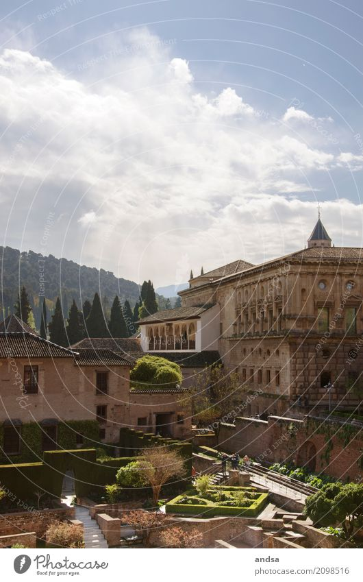 Alhambra - Granada - Spanien Ferien & Urlaub & Reisen Sommer Sonne Einsamkeit ruhig Architektur Gebäude Tourismus Stimmung Fassade Design Ausflug Park