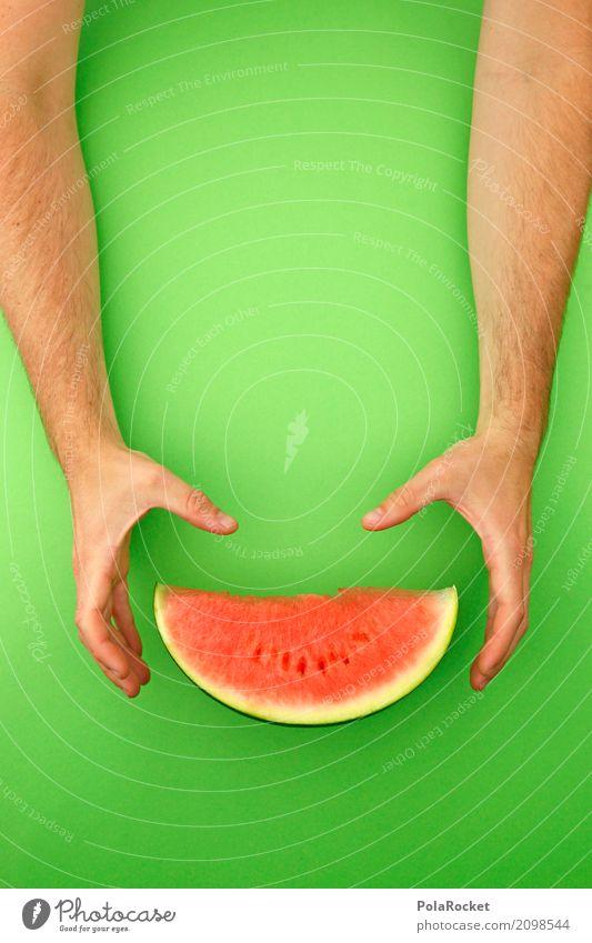 #AS# Die Melone! Kunst Kunstwerk ästhetisch grün Melonen Melonenschiffchen greifen lecker Gesundheit Gesunde Ernährung Frucht Hand festhalten rot Erfrischung