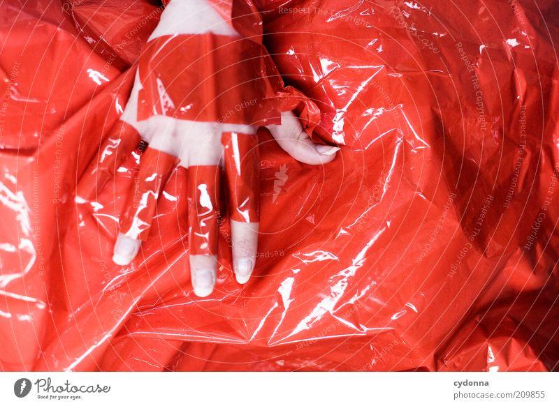 Ich bin dann mal ROT Stil Design Mensch Hand ästhetisch bizarr geheimnisvoll Idee einzigartig Inspiration Kreativität rot beklebt Klebeband Gefühle berühren