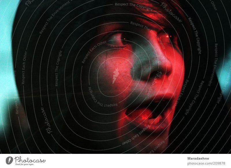 WOOOW! Frau Mensch Jugendliche rot Freude Gesicht feminin Kopf Glück Erwachsene Stimmung Fröhlichkeit Neugier beobachten hören Konzert