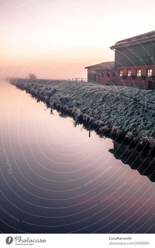 Winterstimmung III elegant Erholung Haus Landwirtschaft Forstwirtschaft Ruhestand Umwelt Natur Landschaft Urelemente Wasser Sonnenaufgang Sonnenuntergang Nebel