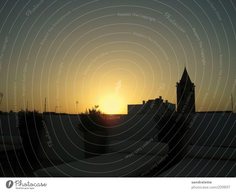 Null Sterne Stil Design Erholung ruhig Dachterrasse Sonnenaufgang Sonnenuntergang Schönes Wetter Dorf Kleinstadt Skyline Gebäude Architektur Terrasse ästhetisch