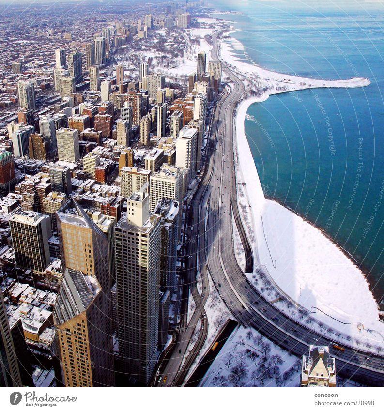 Chicago Winter Beton Hochhaus USA Skyline Wisconsin Nordamerika Illinois Lake Michigan