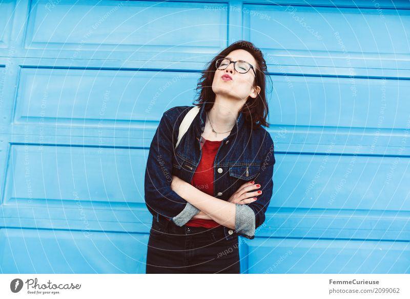 Roadtrip West Coast USA (309) feminin Junge Frau Jugendliche Erwachsene 1 Mensch 18-30 Jahre 30-45 Jahre Freude Kussmund Küssen Lippen sommerlich Glück