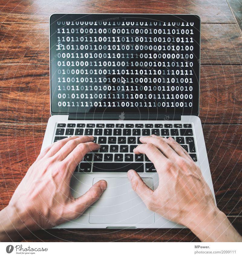 1010101001101011100001010101 Mensch Hand Technik & Technologie Telekommunikation Zukunft Sicherheit Internet Informationstechnologie Tastatur Notebook online