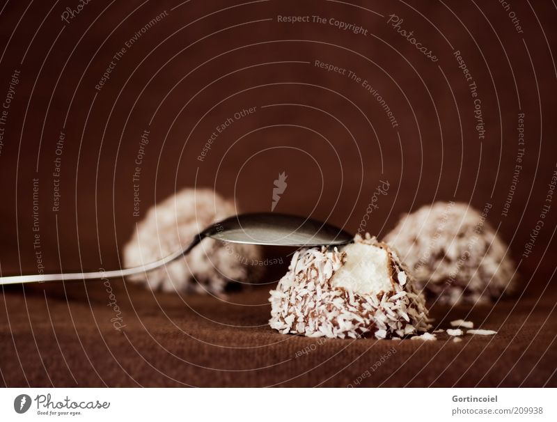 Dessert Deluxe Lebensmittel Süßwaren Schokolade Ernährung Löffel lecker süß braun Kokosnuss Kokosflocken Schokoküsse schokobraun Foodfotografie Farbfoto