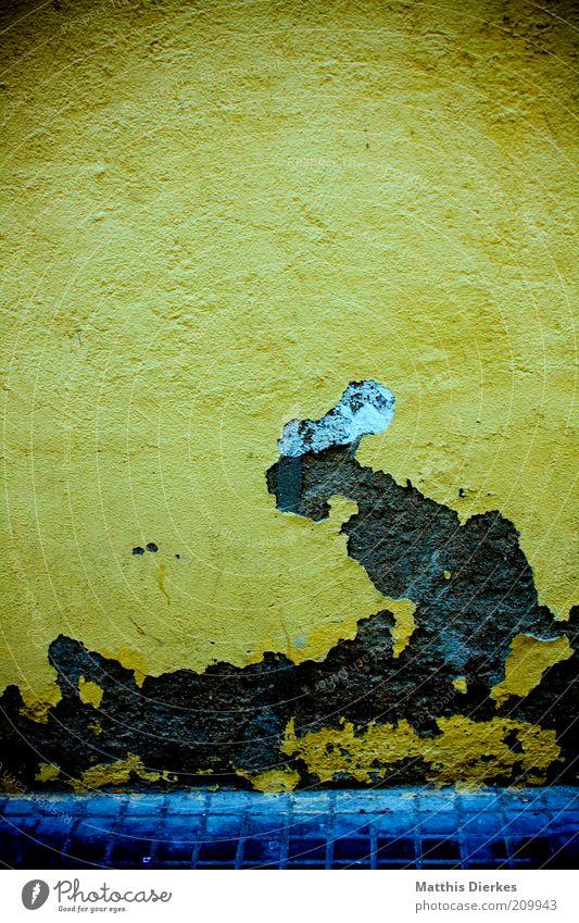 Kleines Arschloch, das in den Himmel starrt alt blau gelb dunkel Wand grau Mauer dreckig Fassade ästhetisch kaputt trist Bauwerk verfallen Verfall trashig