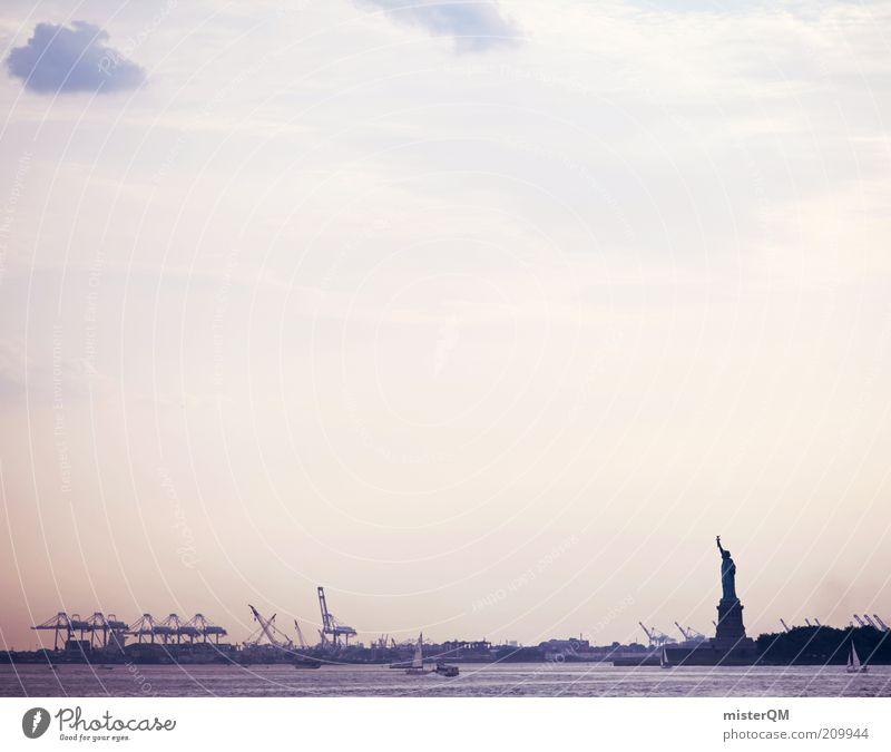 Good Morning New York. Meer Stadt ruhig Freiheit Wasserfahrzeug frei Hoffnung ästhetisch Zukunft USA Romantik Hafen Statue Symbole & Metaphern Wirtschaft Handel