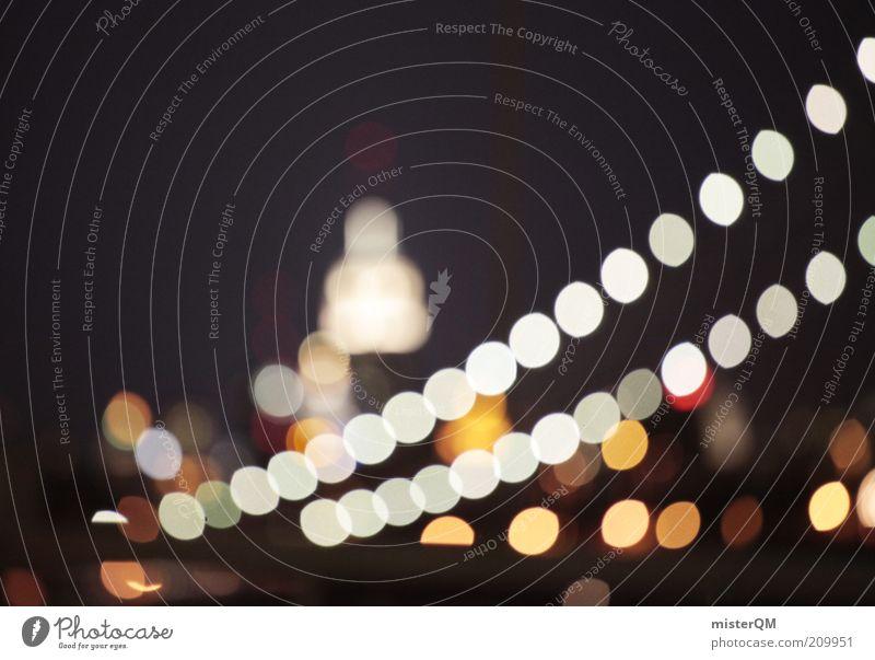 Lichterkette. Kunst ästhetisch New York City Empire State Building Brooklyn Bridge Lichtpunkt Romantik Grossstadtromantik Brücke Nachtaufnahme USA Fernweh