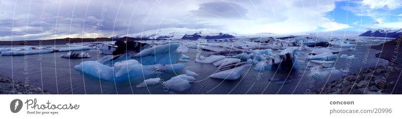 Islands Eisberge (Panorama) blau kalt Eis Island Gletscher Eisberg Naturphänomene azurblau