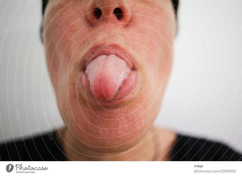 das (kann jeder) Mensch Frau Freude Gesicht Erwachsene Leben Gefühle Stimmung Freizeit & Hobby Kommunizieren Mund Coolness nah zeigen Gesichtsausdruck