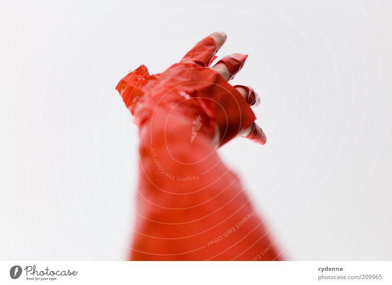 Nicht greifbar Mensch Hand rot Leben Stil träumen Arme Design verrückt Finger leer Zukunft einzigartig Ziel außergewöhnlich Sehnsucht