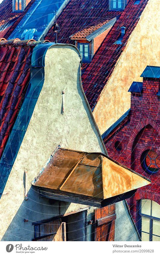Blick auf die Dächer von Riga Himmel Ferien & Urlaub & Reisen alt Sommer Stadt Landschaft rot Haus Architektur Straße Gebäude Stein Tourismus Aussicht Europa