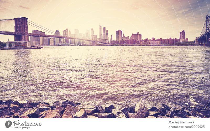 Ferien & Urlaub & Reisen Sonne Landschaft Hochhaus Aussicht USA Brücke Fluss Skyline Städtereise Sightseeing Anlegestelle Manhattan Osten Brooklyn Großstadt