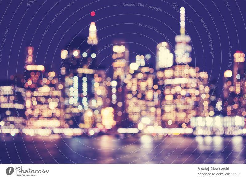 Verschwommenes Manhattan Business retro Aussicht Erfolg USA Fotografie Sehenswürdigkeit Skyline Stadtzentrum Inspiration innovativ Großstadt purpur