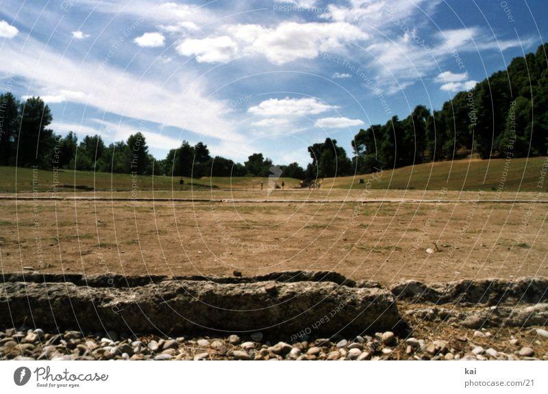 GreekOlympia Himmel Ferien & Urlaub & Reisen Wolken Platz Perspektive Aussicht historisch Ruine antik Griechenland Stadion Antike Wolkenhimmel Archäologie