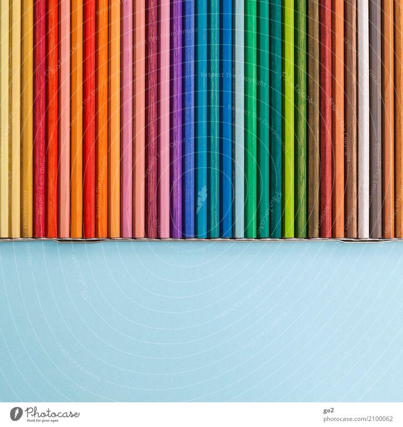 Bunte Stifte Freizeit & Hobby Kindergarten Schule Studium Büroarbeit Arbeitsplatz Werbebranche Sitzung Team Kunst Maler Schreibwaren Papier Zettel Schreibstift