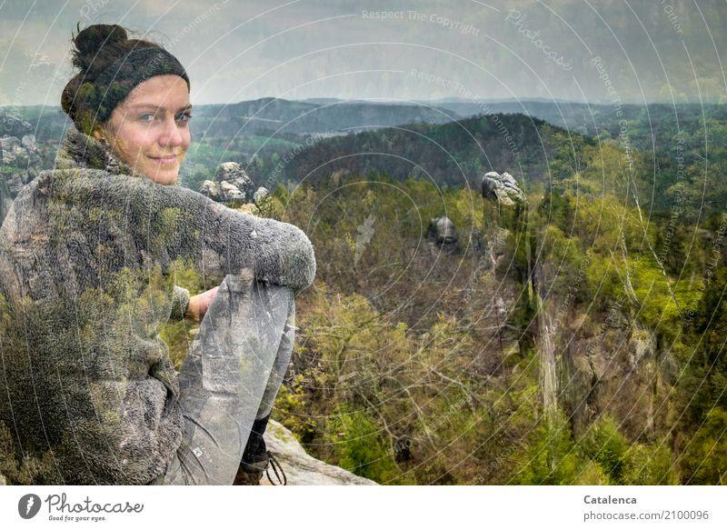 Jahreszeiten | Frühling Mensch Himmel Natur Jugendliche Junge Frau blau schön grün Landschaft Baum Ferne Wald Berge u. Gebirge feminin grau