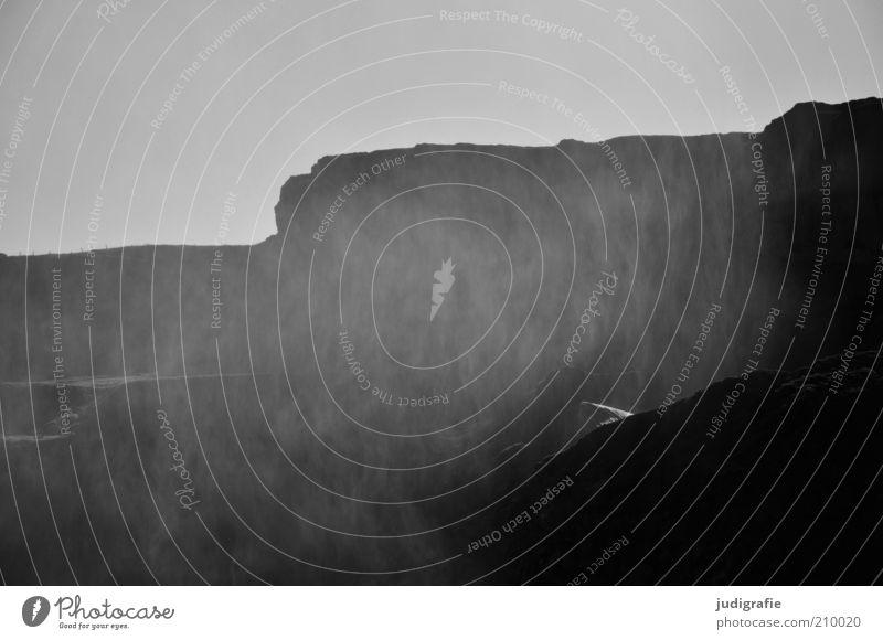 Island Natur Wasser dunkel kalt Berge u. Gebirge Regen Landschaft Stimmung Kraft Nebel Wetter Umwelt nass Felsen Klima natürlich