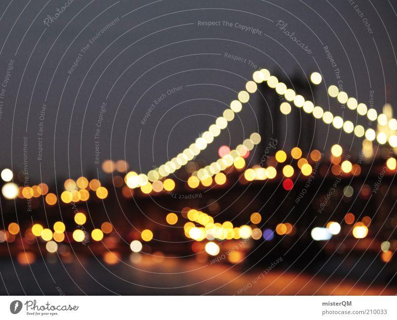 New York City Lights. schön Freiheit hell Brücke ästhetisch USA Romantik Idylle Skyline Flussufer erleuchten Fernweh Lichtspiel Nachtleben