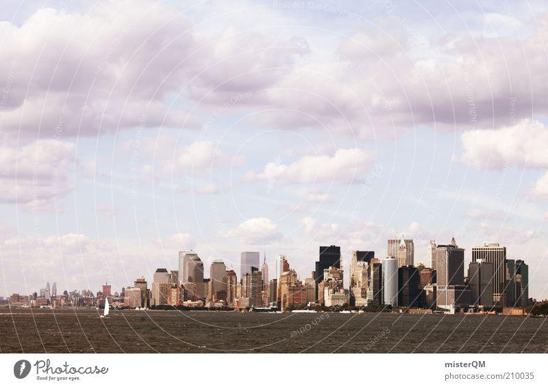 NY Skyline. Wasser Stadt Haus Küste hoch Hochhaus ästhetisch Perspektive Zukunft USA viele Aussicht Management Wirtschaft Politik & Staat