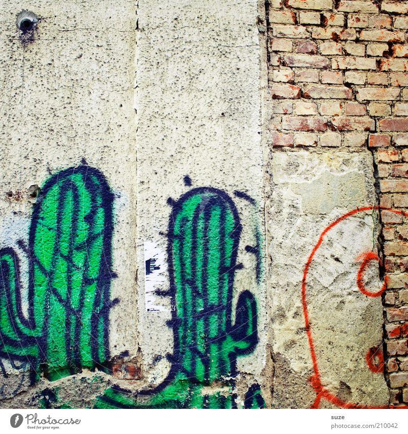 Sancho und Pancho alt Stadt Haus Graffiti Wand Mauer Hintergrundbild Fassade Freizeit & Hobby dreckig authentisch Beton Vergänglichkeit trocken Bild verfallen