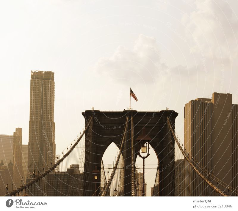 Brooklyn. ästhetisch Brooklyn Bridge USA Stars and Stripes New York City Stadtteil Hochhaus Nachmittag Brücke Verbindung Stahl Beton Skyline Urlaubsfoto